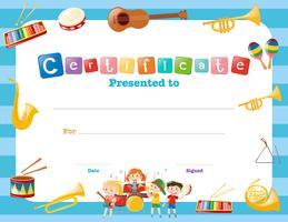 Certifikatmall med musikinstrument vektor