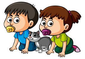 Zwei Kleinkinder und kleine Katze vektor