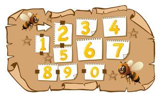 Zahlen mit Bienen zählen vektor