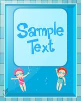 Border design med två barn simning vektor