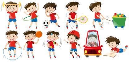 Pojke gör olika aktiviteter