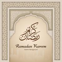 Ramadan Kareem Gruß-Hintergrund-islamischer Bogen vektor