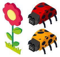 3D-Design für Käfer und Blumen
