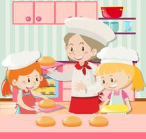 Bäcker und zwei Mädchen, die Torte backen vektor