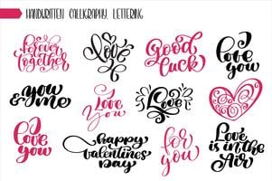 Ange frase Valentinsdag kalligrafi vektor