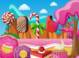 Szene mit Eis und Desserts am Strand vektor