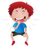 Kleiner Junge, der alleine lacht vektor