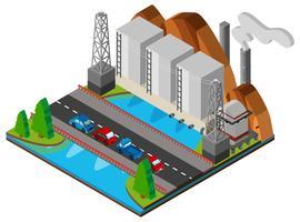 Kraftverk och bro över floden vektor