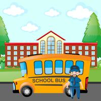 Fahrer, der Schulbus fährt vektor