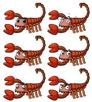 Skorpion mit verschiedenen Gesichtsausdrücken vektor