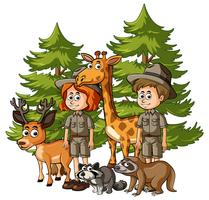 Tierpfleger und viele Tiere im Wald vektor