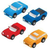 Isometrische Limousine, Sportwagen, SUV und Kleintransporter-Vektor