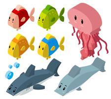 3D-design för havsdjur vektor