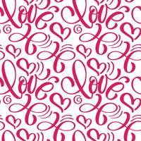 Seamless mönster med handmålade Valentine kärlek och hjärta