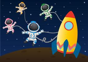 Fyra astronaunter flyger i rymden