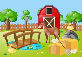 Gårdsplats med djur på fältet