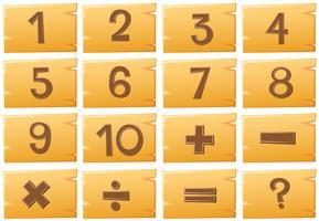 Zahlen auf Holzbrettern vektor