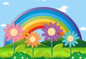 Regnbåge och blommor i trädgården vektor