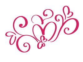 Vektor-Valentinsgrußtag von Flourishkalligraphie-Weinleseherzen