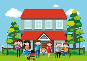 Hus med många människor i familjen