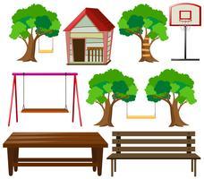Sitze und Sachen im Garten vektor