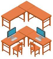 3D-design för bord och stolar vektor