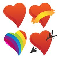 Gullig Sweetheart, Cupid Heart, Valentine Heart, Rainbow Heart Vector Group