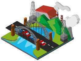 Bilar på bron i 3D-design vektor
