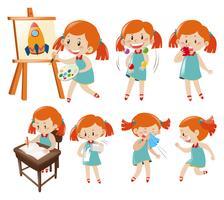 Olika åtgärder av liten tjej i blått vektor