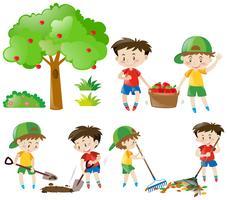 Satz Jungen, die landwirtschaftliche Arbeit erledigen vektor