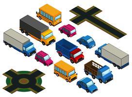3D-design för olika typer av bilar och vägar vektor