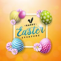 Glückliche Ostern-Illustration mit bunter Blume und gemaltem Ei auf glänzendem gelbem Hintergrund