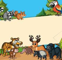 Papierschablone mit wilden Tieren im Wald vektor