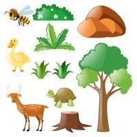 Naturen med djur och växter vektor