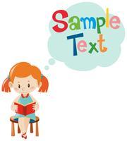 Beispieltextvorlage mit Mädchenlesung vektor