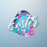 Glückliche Ostern-Illustration mit buntem Blumen-und Papierausschnitt-Ei-Symbol