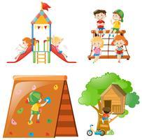 Viele Kinder spielen an verschiedenen Spielstationen vektor
