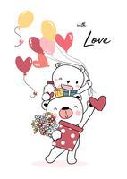 glücklicher Teddybär, der Ballonherz und Geschenkboxen hält