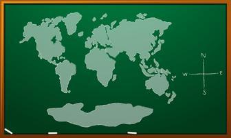 Weltkarte auf grünem Brett vektor