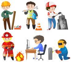 Människor som arbetar på olika jobb