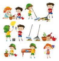 Barn gör olika sysslor