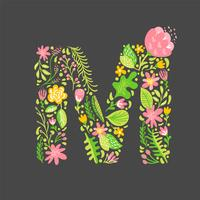 Blumensommer Buchstabe M vektor