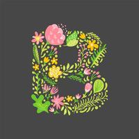 Blumensommer Buchstabe B vektor