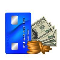 Realistiska dollarräkningar, ett kort och mynt på en vit bakgrund vektor