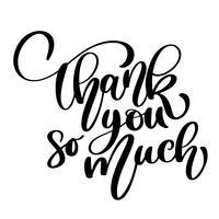 Tack så mycket kort. Handtecknad hälsning bokstäver