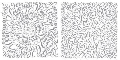 Text blomstra kalligrafi vintage kärlek och hjärtan
