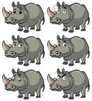 Hippo med olika ansiktsuttryck vektor