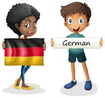 Pojke och flicka med flagga i Tyskland