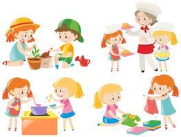 Barn gör olika sysslor vektor