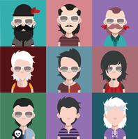 Set med människor ikoner med ansikten